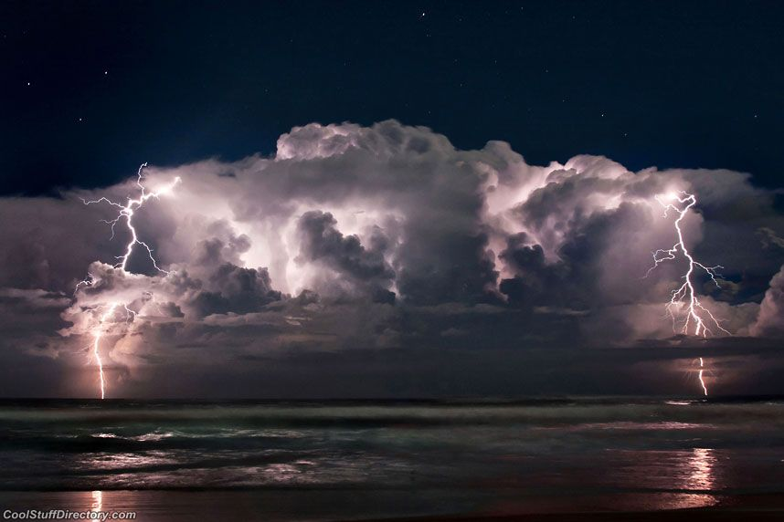 Beach In Storm Lightning: Beach Life…struck By A Thought.